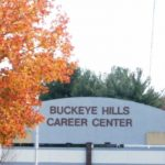 Photo of leaves in front of Buckeye Hills Career Center building sign